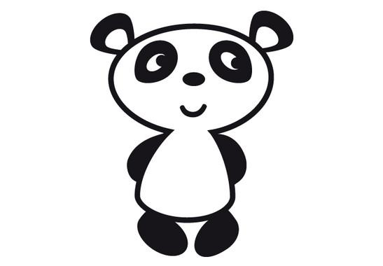 schwarz/weiss Ansicht - Wandtattoo Pandabär