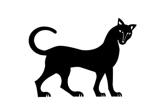 schwarz/weiss Ansicht - Wandtattoo Mystery Cat