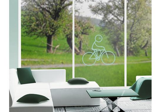 Folienfarbe in Wohnansicht: Refreshing Mint - Glasdekor Radfahrer