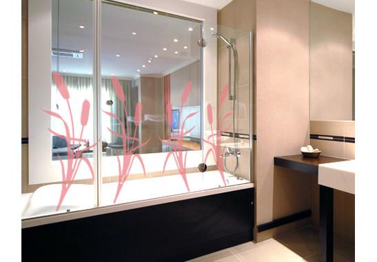 Folienfarbe in Wohnansicht: Romantic Rose - Glasdekor Schilf