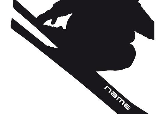 Ein Detail des Motives - Wandtattoo Wunschtext Skifahren