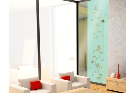 Folienfarbe in Wohnansicht: Refreshing Mint - Sichtschutz Flora Duo III