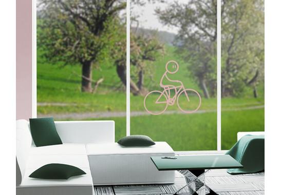 Folienfarbe in Wohnansicht: Romantic Rose - Glasdekor Radfahrer