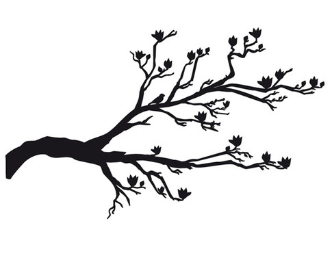 schwarz/weiss Ansicht - Wandtattoo Cherryblossoms