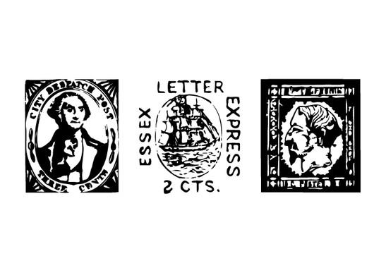 schwarz/weiss Ansicht - Wandtattoo Antike Briefmarken I
