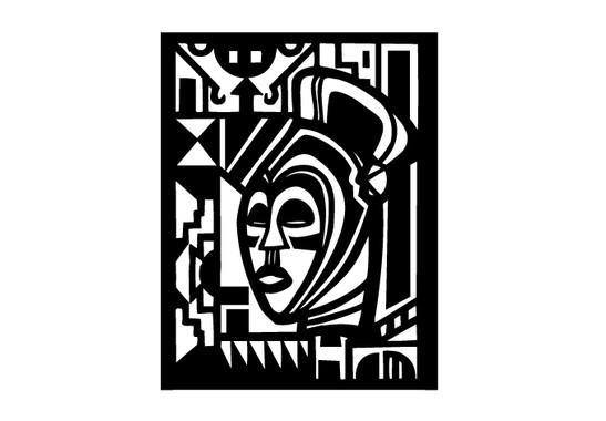 schwarz/weiss Ansicht - Wandtattoo African Art