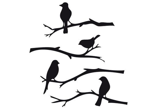 schwarz/weiss Ansicht - Wandtattoo Vögel