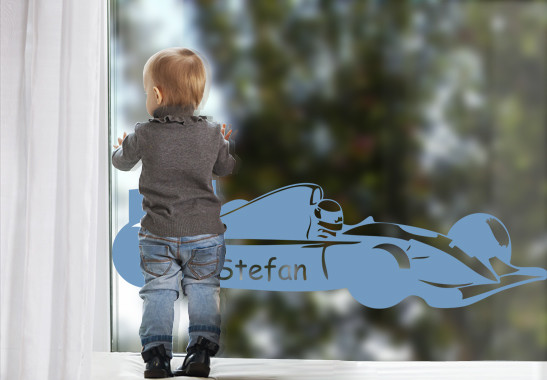 Glasdekor Wunschtext Rennfahrer