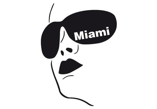 schwarz/weiss Ansicht - Wandtattoo Miami Girl