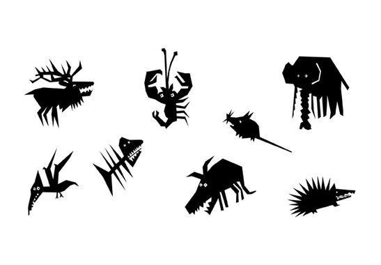 schwarz/weiss Ansicht - Wandtattoo Scherenschnitt Tiere