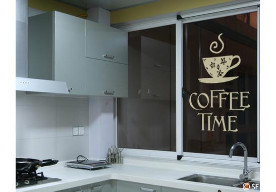 Folienfarbe in Wohnansicht: Sparkling Yellow - Glasdekor Coffee Time 1