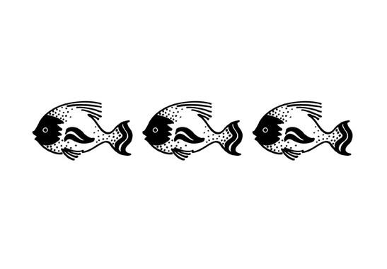 schwarz/weiss Ansicht - Wandtattoo Drei Fische