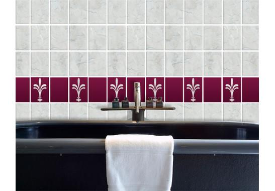 Folienfarbe in Wohnansicht: aubergine - Fliesenaufkleber Klassische Lilie Set II