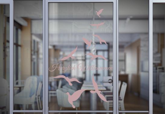 Glasdekor Wunschtext Vogelschwarm - Bild 4