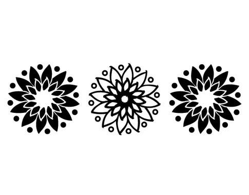 schwarz/weiss Ansicht - Wandtattoo Mandala