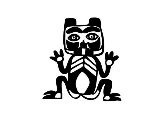 schwarz/weiss Ansicht - Wandtattoo Primitive Art Katze