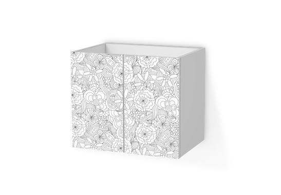Möbelfolie Flower Lines 1 für Lillangen Waschkommode 2 Türen (60x50cm)