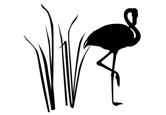 schwarz/weiss Ansicht - Wandtattoo Flamingo Sunset