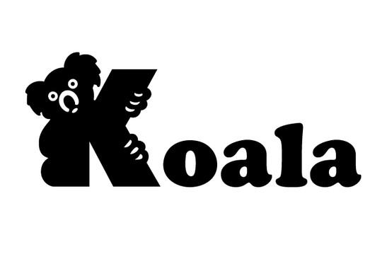 schwarz/weiss Ansicht - Wandtattoo Buchstaben Koala