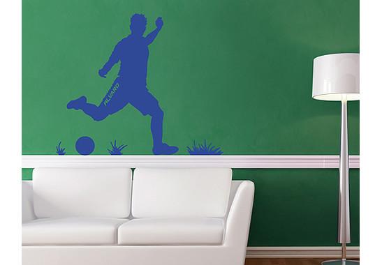 So kann es wirken: Das Motiv mit einem Beispieltext - Wandtattoo Wunschtext Fussball