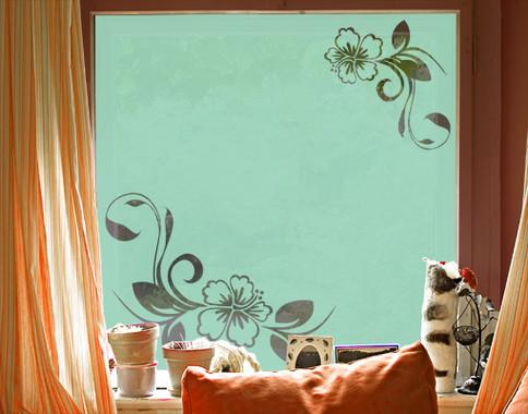 Folienfarbe in Wohnansicht: Refreshing Mint - Sichtschutz Hibiskustraum II