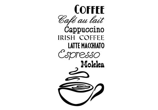 schwarz/weiss Ansicht - Wandtattoo Coffee
