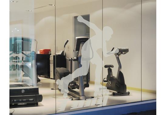 Folienfarbe in Wohnansicht: Frosted - Glasdekor Wunschtext Inline Skater