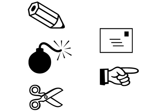schwarz/weiss Ansicht - Wandtattoo Computer Symbole