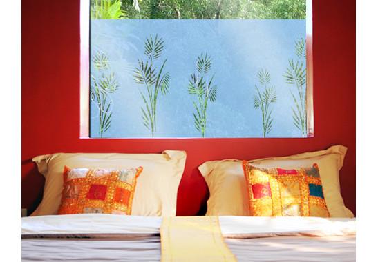 Folienfarbe in Wohnansicht: Offshore Blue - Sichtschutz Palmenzweig I