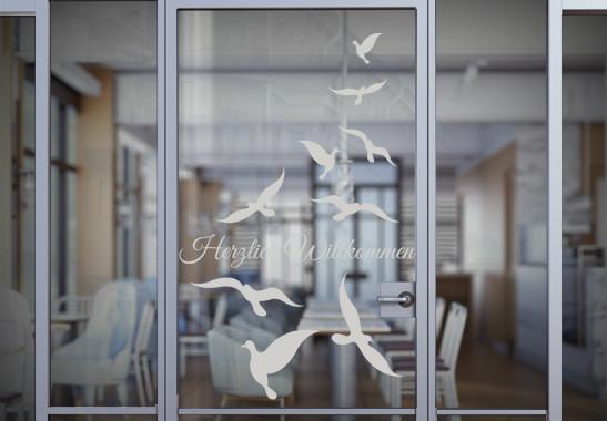 Glasdekor Wunschtext Vogelschwarm - Bild 2