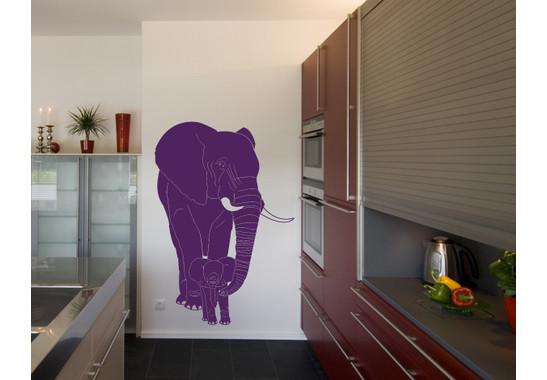 Wandtattoo Elefantenmutter & Junges