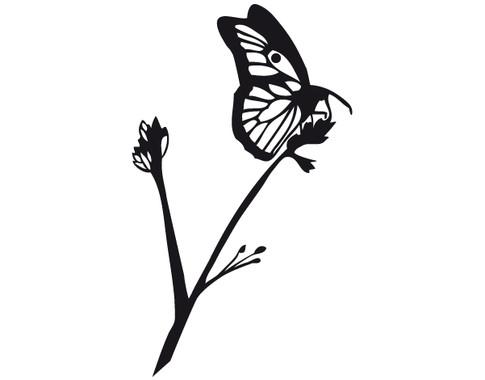 schwarz/weiss Ansicht - Wandtattoo Schmetterling