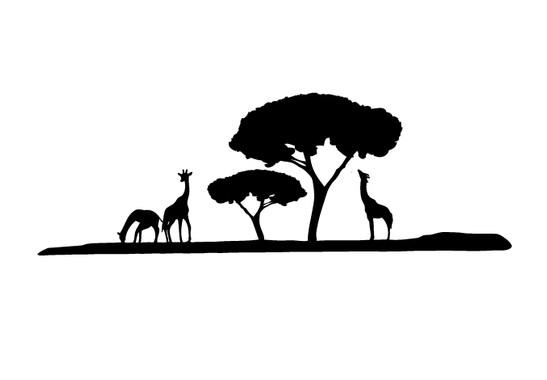 schwarz/weiss Ansicht - Wandtattoo Giraffen