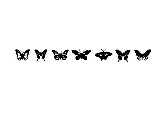schwarz/weiss Ansicht - Wandtattoo Schmetterlingsammlung