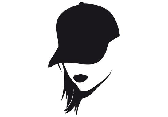 schwarz/weiss Ansicht - Wandtattoo Woman Baseballcap