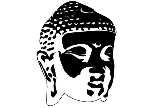 schwarz/weiss Ansicht - Wandtattoo Buddhagesicht Schatten II