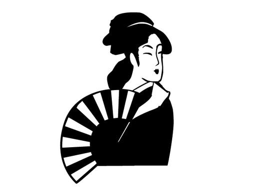 schwarz/weiss Ansicht - Wandtattoo Geisha Cut