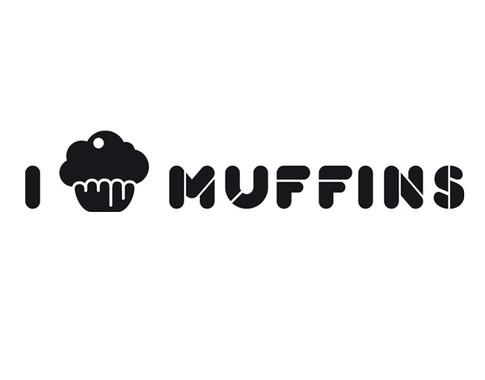 schwarz/weiss Ansicht - Wandtattoo I love Muffins