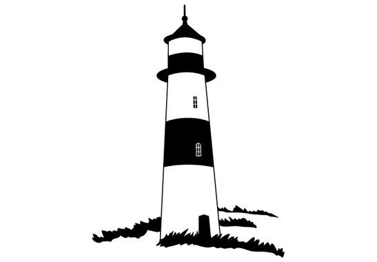 schwarz/weiss Ansicht - Wandtattoo Leuchtturm in Wiese