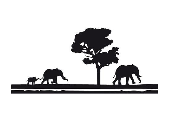 schwarz/weiss Ansicht - Wandtattoo Africa