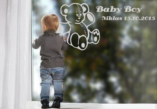 Glasdekor Wunschtext Baby Teddy - Bild 2