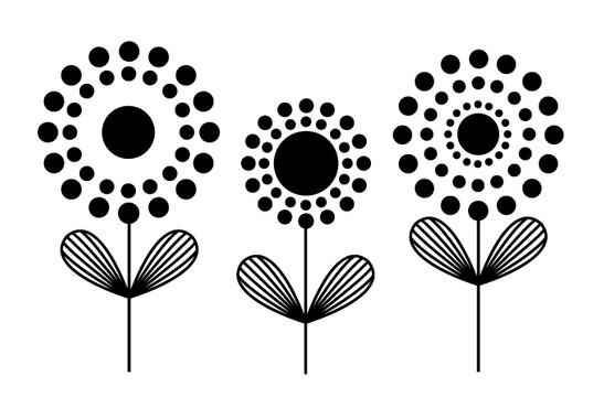 schwarz/weiss Ansicht - Wandtattoo Punkteblumen