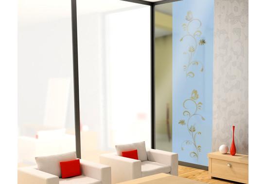 Folienfarbe in Wohnansicht: Offshore Blue - Sichtschutz Flora Duo III