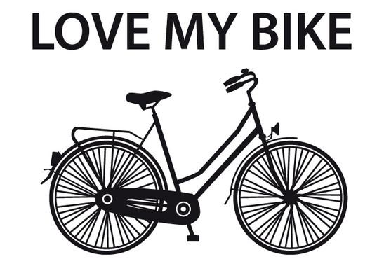 schwarz/weiss Ansicht - Wandtattoo I love my bike