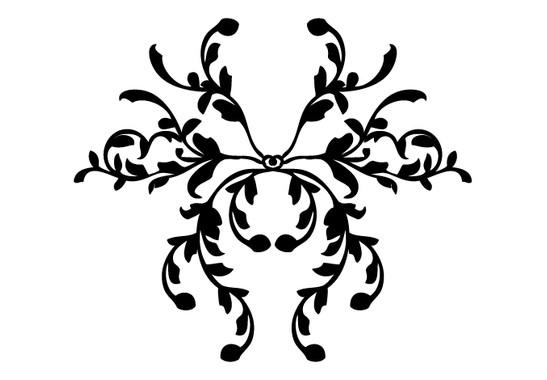 schwarz/weiss Ansicht - Wandtattoo Pflanzenornament