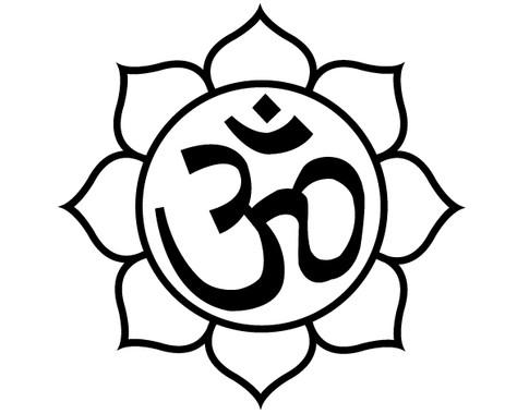 schwarz/weiss Ansicht - Wandtattoo Om-Zeichen in Lotusblüte I