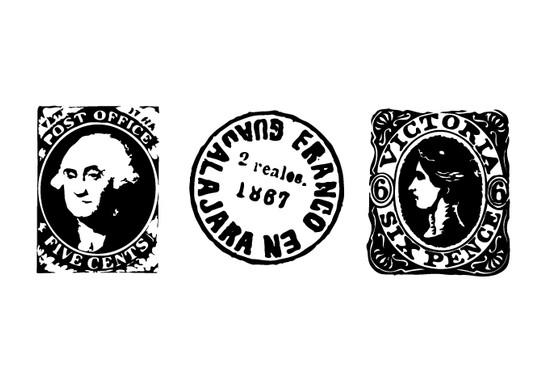schwarz/weiss Ansicht - Wandtattoo Antike Briefmarken II