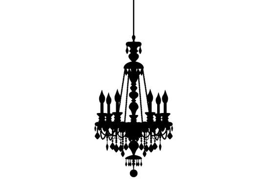 schwarz/weiss Ansicht - Wandtattoo Leuchter