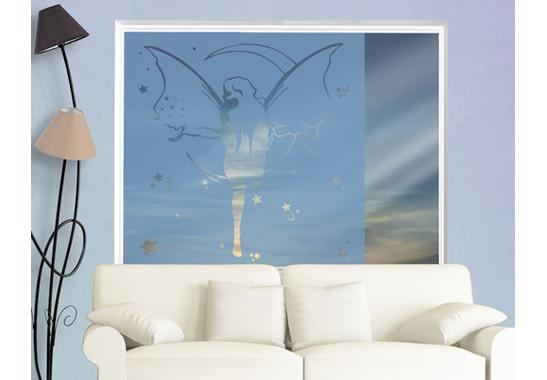 Folienfarbe in Wohnansicht: Offshore Blue - Sichtschutz Feenkönigin II