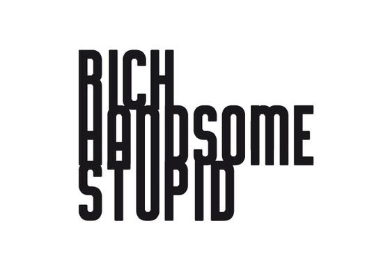 schwarz/weiss Ansicht - Wandtattoo Rich, handsome, stupid